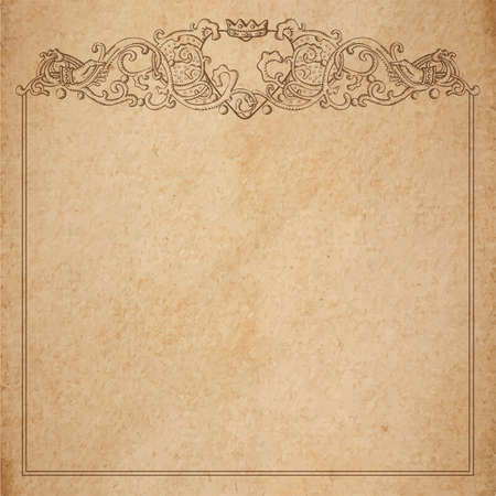 Vintage old paper texture with vector vignette with Medieval ornament, hand drawn floral decorative frame with heart and crown holded by hands, copy space emblem Illustration