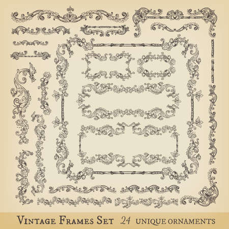 medieval: Vector collection of floral swirls, frames, decorative elements and seamless borders, hand drawn Medieval ornaments