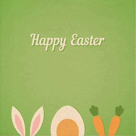 osterhase: Vektor Frohe Ostern Karte Hintergrund mit minimalem Flachhasenohren, gekochtem Ei und frische Karotten - Symbole von Ostern, realistische Papier-Effekt Farbe Karton Hintergrund Illustration