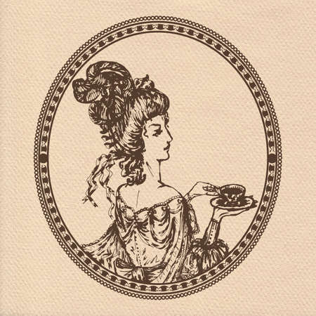 vintage lady: Vector illustration of vintage lady with cup of tea or coffee in round frame on realistic paper Stock Illustratie