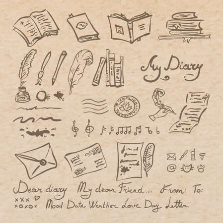 writing instrument: Vector set of education and writing instrument elements, hand drawn doodles on old parchment paper, scrapbooking collection Illustration