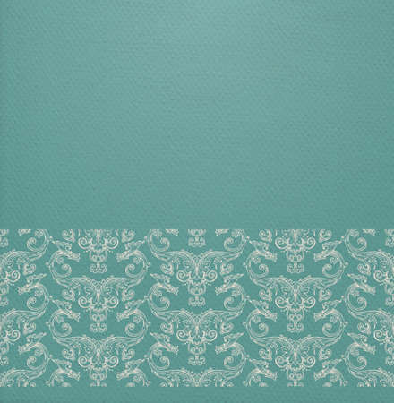 fade out: Vector oriental background with ornate border and realistic paper effect on blue cardboard Illustration