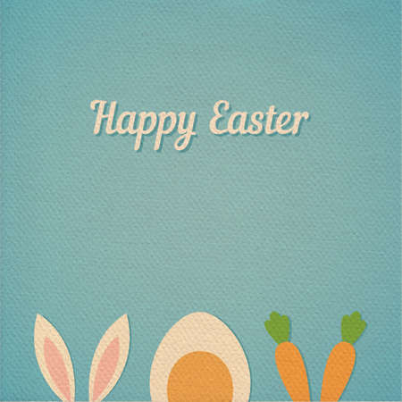 boiled: Vector Happy Easter card background with minimal flat rabbit ears, boiled egg and fresh carrot - symbols of Easter,  realistic paper effect color cardboard background
