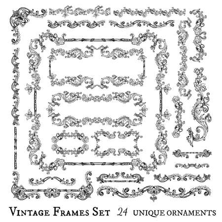 Vector collection of floral swirls, frames, decorative elements and seamless borders, hand drawn Medieval ornaments