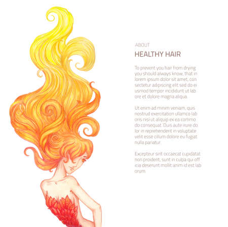 hairdress: Vector illustration of hand drawn woman with fire hairs - rich curled locks hairdress drawn in color pencils isolated on white with place for text block Illustration