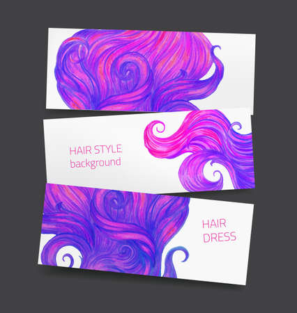 hairdress: Vector set of three banners with hair locks, hand drawn with color pencils, for hairdress and beauty salon Illustration