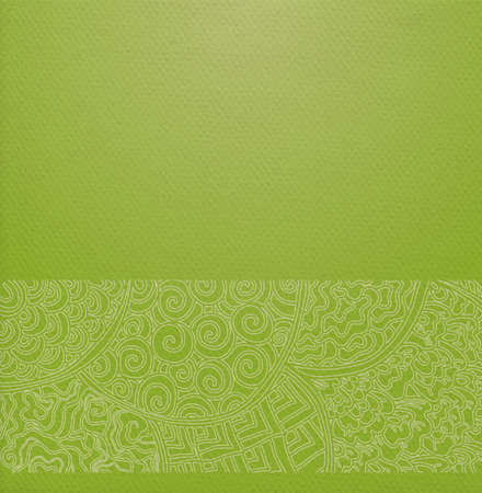 Vector ornate background with ornamental border - green paper with traditional japanese ornament with floral circles