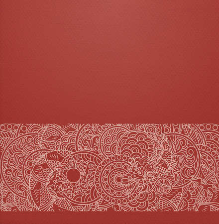 Vector ornate background with ornamental border - red paper with traditional japanese ornament with dragon and pearl