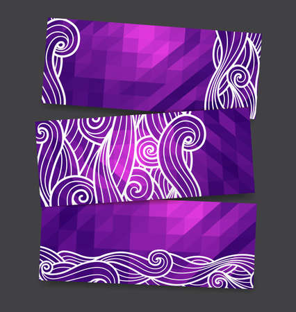 colection: Vector triangles background with sea hand drawn sketch waves - geometric banners set