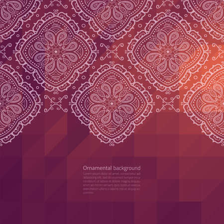 red indian: Vector ornate border on triangle flat background Illustration