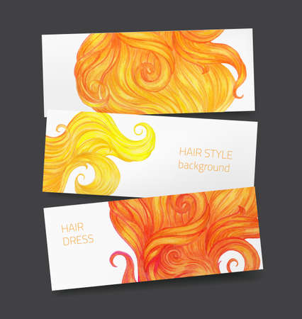 Vector set of three banners with hair locks, hand drawn with color pencils, for hairdress and beauty salon Illustration