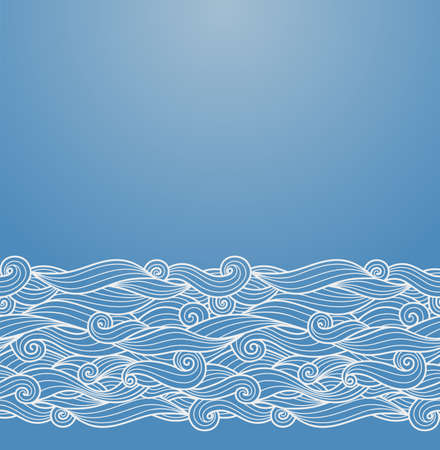 Vector ornate background with ornamental border - blue paper with hand drawn waves ornament Illustration