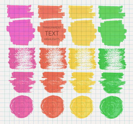 felt tip pen: Vector set of transparent highlighter marks, green, red, pink, yellow colors on school checked paper