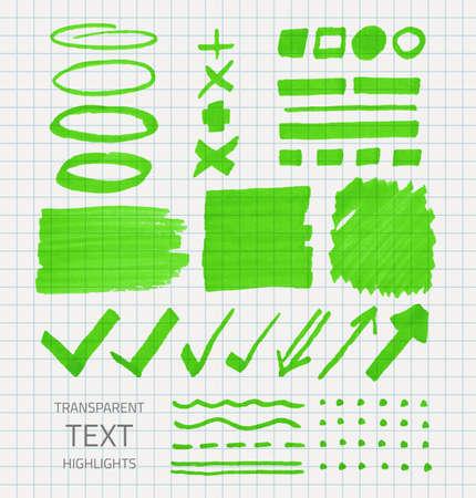Insieme vettoriale di segni evidenziatori trasparenti, colore verde sulla scuola selezionata carta Vettoriali