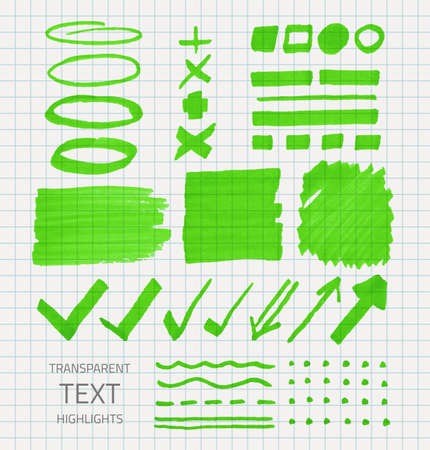 Vector set of transparent highlighter marks, green color on school checked paper