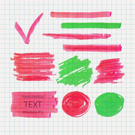 soft tip pen: Vector set of transparent highlighter marks, green and pink colors on school checked paper