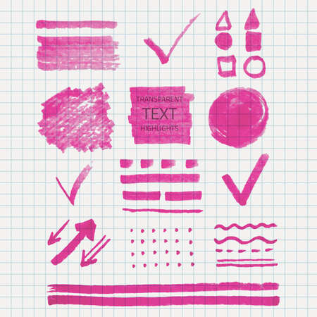 soft tip pen: Vector set of transparent highlighter marks, pink color on school checked paper