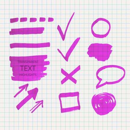Vector set of transparent highlighter marks, purple color on school checked paper