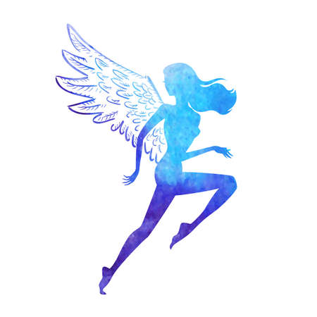 bird wings: Vector illustration of running woman silhouette of watercolor paint texture shape with wings