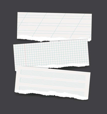 square sheet: Vector backgrounds set as torn realistic school paper banners - square checked, calligraphy lined and muzic note sheet patterns