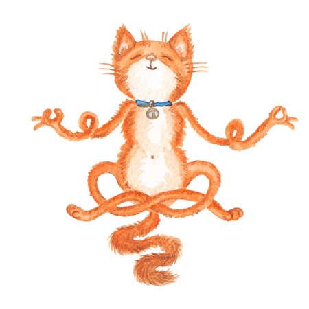 手描き下ろし瞑想赤猫白で隔離のベクトル イラスト  イラスト・ベクター素材