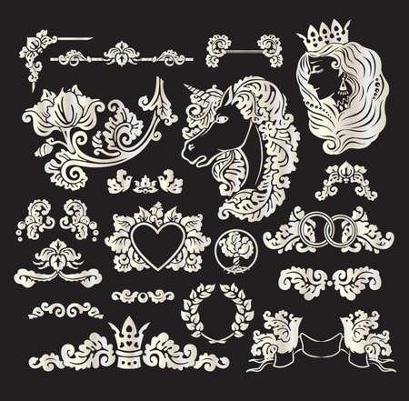 Vector royal wedding vignettes set in Medieval decorative style - elements for vintage decoration design Vector