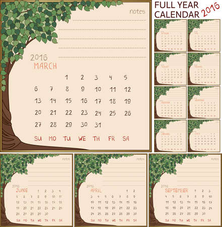 2016 year full calendar, separate pages for each of 12 month in frame with art-nouveau style tree Vector