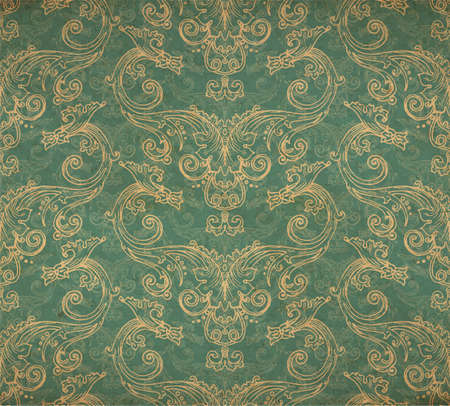 Vector illustration of old vintage victorian ornate wallpaper - old paper parchment with spots and faded blue background ornament