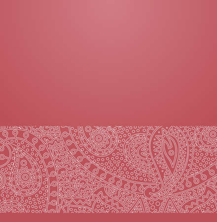 Vector ornate background with ornamental border - hippie paisley ornament with flowers