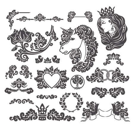 decoracion boda: Vi�etas del vector fijadas en estilo decorativo medieval - elementos para la decoraci�n de la boda del dise�o Vectores