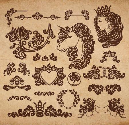 royal wedding: Vector royal wedding vignettes set in Medieval decorative style - elements for vintage decoration design embossed on cardboard parchment