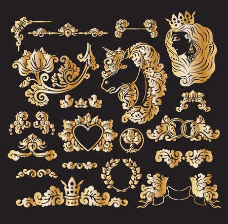 Vector royal wedding vignettes set in Medieval decorative style - golden foil elements for vintage decoration design Vector