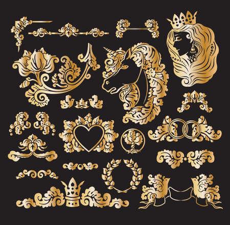 ribbon frame: Vector royal wedding vignettes set in Medieval decorative style - golden foil elements for vintage decoration design