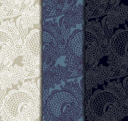 the dragons: Vector conjunto de texturas de dragones y rosas sin costura - adornos chinos y japoneses asi�ticos tradicionales establecidas en las paletas a juego, listo para usar Vectores