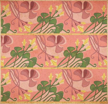 artnouveau: Vector illustration of floral texture in art-nouveau style, clover on parchment