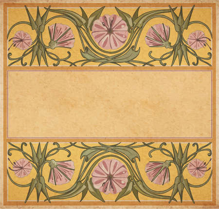 artnouveau: Vector illustration of floral empty frame template in art-nouveau style on parchment paper