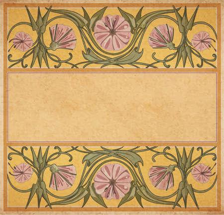 parchment paper: Vector illustration of floral empty frame template in art-nouveau style on parchment paper