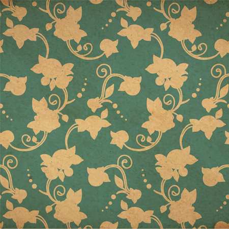vecotr: Vecotr vintage floral background in victorian old style with stans and yellow paper Illustration