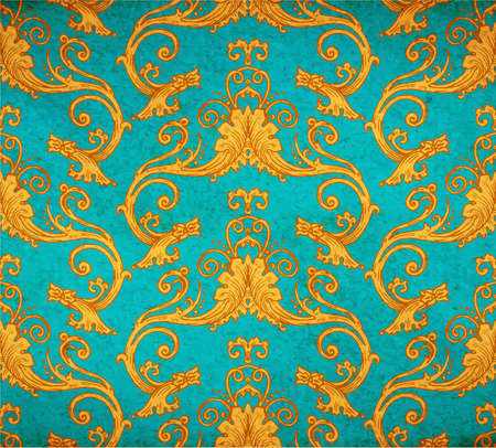 faded: Vector illustration of old vintage victorian ornate wallpaper - old paper parchment with spots and faded blue background ornament