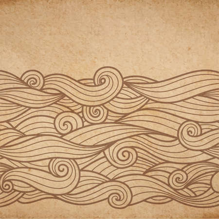 waves pattern: Vector brown ink waves pattern on cardboard background, engraving on parchment Illustration