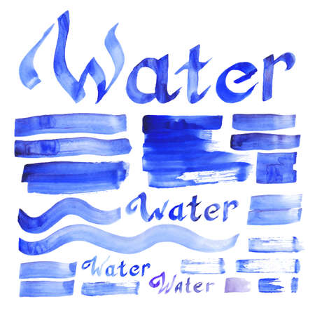water theme: set of water theme decorative hand drawn and painted elements collection for design  Illustration
