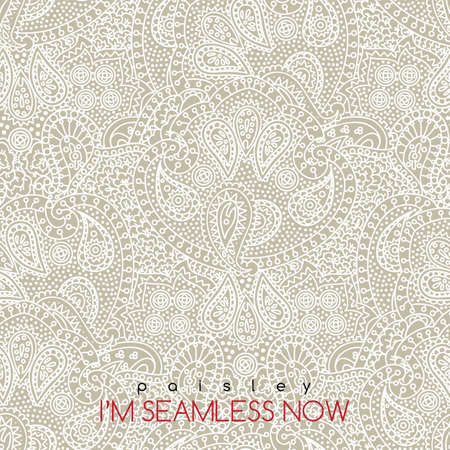 Vector seamless vintage white paisley texture for cards and design