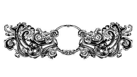 artnouveau: Vintage vector vignette with Renaissance ancient ornament, hand drawn swirls decoration in old engraving style, copy space emblem