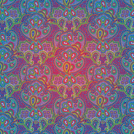 Vector seamless bright color boho paisley texture for cards, fabric and design Ilustrace