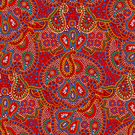 Vector seamless bright color boho paisley texture for cards, fabric and design Illustration