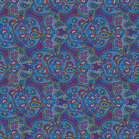 Vector seamless bright color boho paisley texture for cards, fabric and design Vettoriali