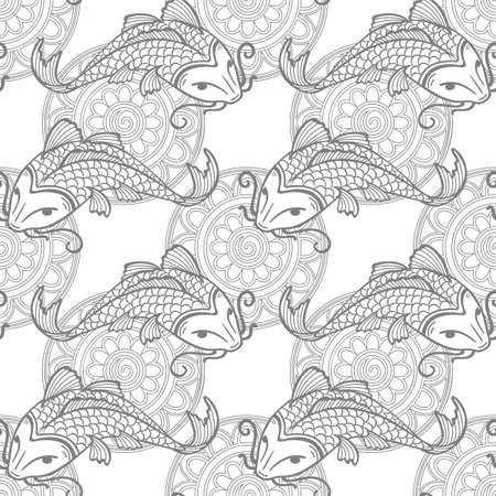 Vector seamless pattern with japanese carps koi - symbol of luck, love and independence - outline coloring