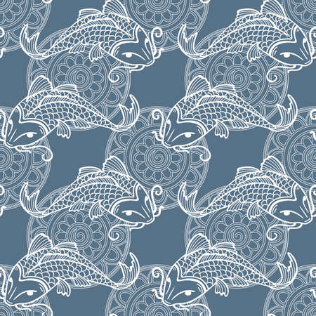 Vector seamless pattern with japanese carps koi - symbol of luck, love and independence - blue and white Illustration