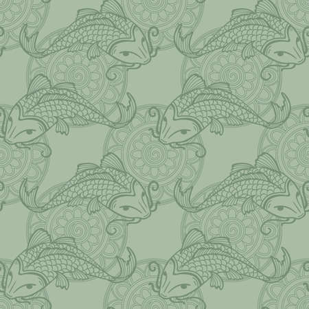Vector seamless pattern with japanese carps koi - symbol of luck, love and independence - grey-green colors