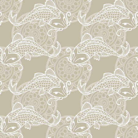 coi carp: Vector seamless pattern with japanese carps koi - symbol of luck, love and independence - light gray